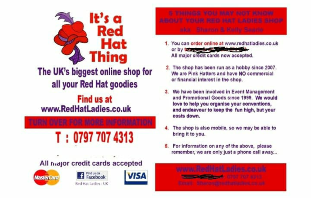 THE OFFICIAL BRITISH RED HATTERS SHOP – Run by our own Pink Hatter Sharon  for Red and Pink Hatters. Sharon says